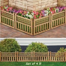 Garden Fence Panels Boarder Plastic Lawn Edge Patio Border Fencing Set of 4