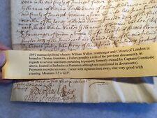 1691 Document re BARBADOS PLANTATION,VIRGINIA, LONDON Manuscript. INDENTURES