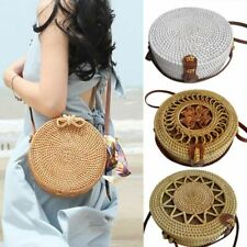 Women Round Straw Bag Beach Rattan Shoulder Bags Bamboo Handbag Crossbody Purse