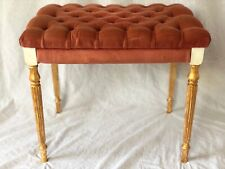 Vintage Regency Chesterfield Style Reproduction Pink Velvet Footstool Gilt Legs