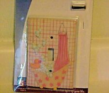 Single Light Switch Plate Cover Bath Tub Bubbles Bathroom New Pink