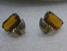 "Vintage Sterling Amber Earrings, Screw Back 1940's,  7.66 gr. , 3/4"""
