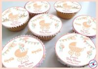 Baby Shower Pram Bows Bunting Vintage Personalised Edible Cupcake Toppers