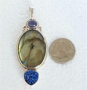 Sajen Sterling Silver 925 Pendant Large Labradorite, Iolite & Druzy Gemstones