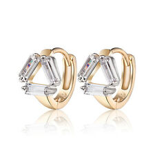 18 k Gold Plated Jewellery Small Baby Girls Hoops Triangle First Earrings E963