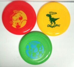 3 Wham-o Frisbee's Discs Red Yellow Green Charging Bull Fierce Dinosaur