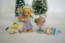 4 Precious Moments Christmas Ornament Girl Carrying Presents 2006 + 3 Miniatures