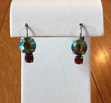 New Sabika 2-Stone Rhinestone Drop Dangle Earrings Green-Blue & Red
