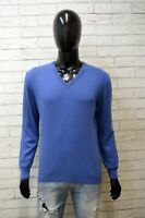 Maglione Vintage Uomo Taglia L Pullover Felpa Sweater Cardigan Cashemere  Blu