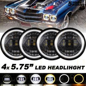 4PCS 5.75inch 5-3/4 Hi Lo Beam  LED Headlight for Chevy Corvette C1 C2 1964-1982