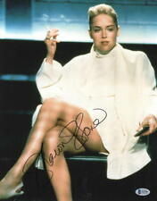 HOT SEXY SHARON STONE SIGNED 11X14 PHOTO BASIC INSTINCT AUTOGRAPH BECKETT COA