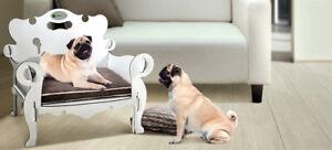 Hundesessel weiß mit braunem Kissen
