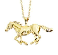"""Yellow Gold Tone Horse Pendant On 25"""" Long Link Chain Necklace UK SELLER slv P15"""