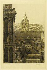 WILLEM VAN LEUSDEN - Blick vom Utrechter Dom zur Buurkerk - Radierung 1909