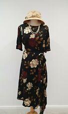 Vintage 1920s 1930s Style Asymmetrical Hem Rose Print Tea Dress UK 12 BNWT