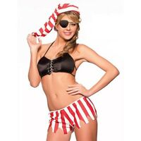 Ladies Caribbean Pirate Wench Fancy Dress Outfit Womens Adults Sexy Costume O/S