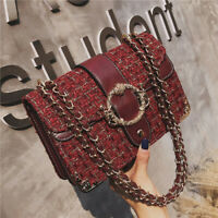 2020 WOMEN Luxury Cross-body Flap Tweed Shoulder Bag Long Chain Messenger Purse