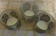 3 small glass candle holders ,used once ,t lights