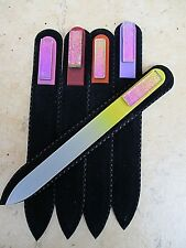 Lot of 5 Mont Bleu Czech Crystal Glass Nail File adorned with Dichroic Glass New