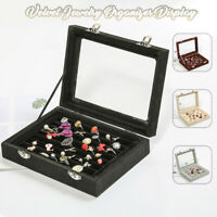 Glass Velvet Jewelry Box Ring Display Case Organizer Holder  Travel