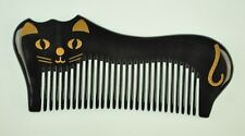 Mr. & Mrs. Comb - Natural Water Buffalo Black Horn Comb with Cat Artwork Design