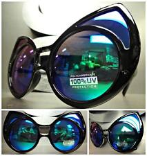UNIQUE VINTAGE EXAGGERATED CAT EYE Style SUN GLASSES Black Frame Blue Green Lens