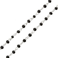 Rosary Style Wire Chain With Black Round 4mm Glass Beads 1 Metre (G46)