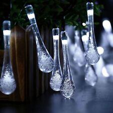 Solar Garden Lights String Fairy 20 White LED RainDrop Weatherproof Outdoor New