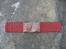 M - Wide Red Beads Stretchy Belt womens with wooden buckle FREE POST*