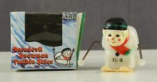 Vintage Toy Mechanical Tumbling Snowman Skier Hard Plastic George Borgfeldt