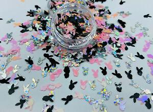 Nail Art RABBIT Playboy Holographic 3D 6x4mm Glitter Sequins Shining Decoration