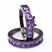 Princes Cut Purple Amethyst Engagement Band Ring 10KT Black Gold Filled Size6-10