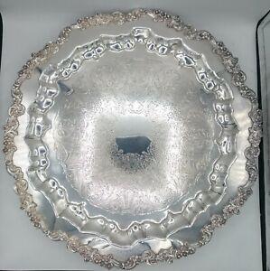 "Huge Vintage 17"" Round Sheridan Footed Serving Tray Shell Scrolls & Flora Design"