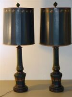 Pair Hand Painted Vintage Enamel Glass Lamps & Shades
