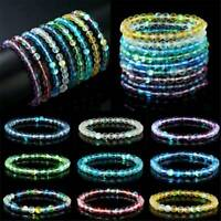 Natural Gemstone Moonstone Bracelet Elastic Frosted Beads Bangle Charm Jewelry
