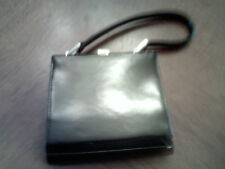 Vintage Nine West Small Black Plastic Purse/ Handbag 5 x 4.5 inches silver clasp