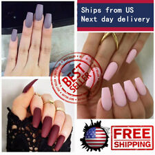 2bags Long Ballerina Coffin Tips French False Nail Full Cover Artificial Tips