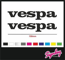2 x VESPA Scooter Cut Vinyl Decal Stickers - 150mm - COLOUR CHOICE