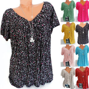 Plus Size Womens Loose Basic Ladies Floral Blouse Summer Holiday Shirt Tee Tops