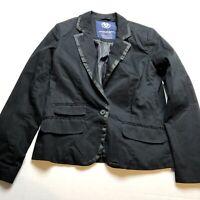 American Eagle Womens Black One Button Blazer Jacket Sz M Career Style A1248