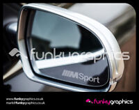 BMW M SPORT 1,3,5,6 SMALL MIRROR DECALS STICKERS GRAPHICS x 3 IN SILVER ETCH