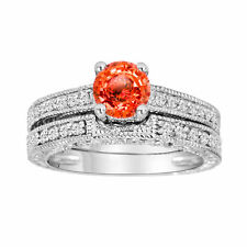 Orange Sapphire & Diamonds Engagement Ring & Wedding Band Sets 14k White Gold