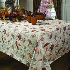 Benson Mills Natures Leaves Jacquard Printed Fabric Tablecloth, 60-Inch-by-104