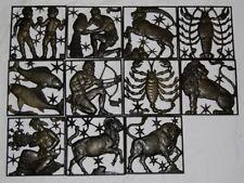 Lauchhammer, 11 Plaketten, Sternzeichen, Kunstguss, Stier, Steinbock, Fisch