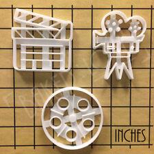 Set of 3 cookie cutters: Movie Reel, Video Camera & Director Clapboard | Film