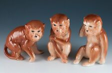Bone China Set of 3 Chimpanzee Monkey Figurines 3 Inches