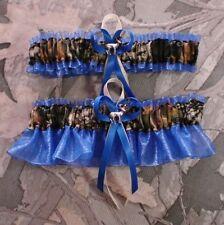 Mossy Oak Royal Blue  Wedding Garter Set Camouflage Camo Deer Hunting Hunter