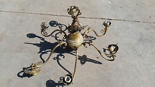 Beautifully ornate Spanish brass chandelier large   (LT 468)