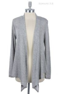 Women's Open Front Draped Knit Cardigan Long Sleeve Solid and Plain Comfortable
