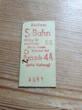 Alte Fahrkarte Berliner S Bahn Preisstufe 4 A